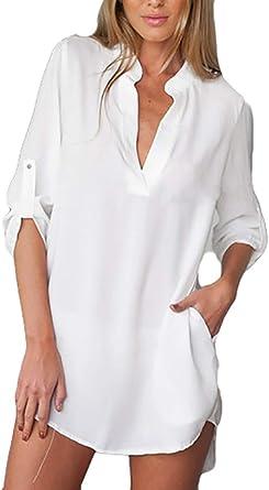 Blusas Chiffon Mujer Talla Grande Camisa Larga V-Cuello Tul ...