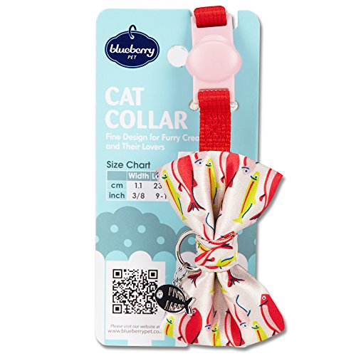 Image of Blueberry Pet 18 Designs Timeless Scarlet Red Breakaway Adjustable Chic Fish Print Handmade Bow Tie Cat Collar with European Crystal Bead on Fish Charm, Neck 9