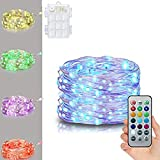 DAVITU Battery Powered 5M Multi-Color Silver Wire String Lights + 21 Keys Remote Control for Christmas