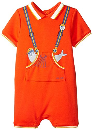 Little Marc Jacobs Baby Boys' Polo Style Romper with Cute Front Print Newborn, Indu Orange 18 Month