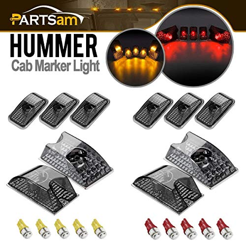 Hummer Roof Lights - Partsam 10pcs 264160BK Smoke Cab Marker Roof Running Top Lights Assembly w/(5xRed+5xAmber) T10 194 168 W5W 5-5050-SMD LED Bulbs Compatible with Hummer H2 SUV SUT 2003-2009
