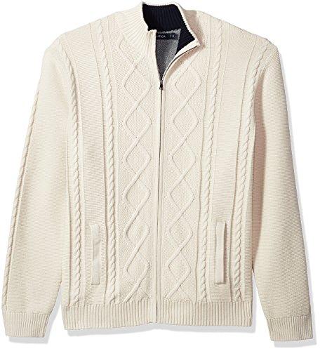 Cable Knit Zip (Nautica  Men's 7 Gauge Full Zip Mock Neck Sweater Bone White XX-Large)