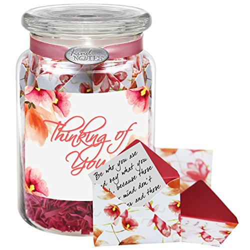 Glass KindNotes FRIENDSHIP Keepsake Gift Jar of Messages for Him or Her Birthday, Friendship Day, Just Because - Watercolor Blooms Thinking of You