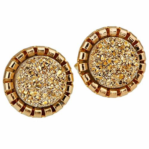 TUMBEELLUWA Druzy Stud Earrings for Women Titanium Coated Quartz Crystal Jewelry, Golden AB Aura Geode Quartz
