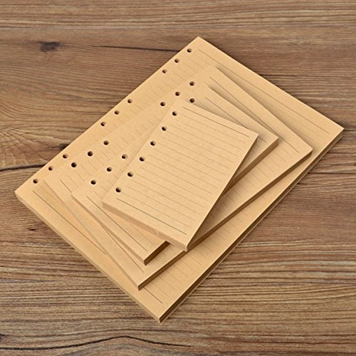 "Chris-Wang 80 Sheets A6 Size 6-Holes Traveler's Notebook Planner Filler Papers / Journal Dairy Inserts Refill Kraft Paper/ Loose-leaf Binder Paper, Brown Color, 7""(Ruled)"