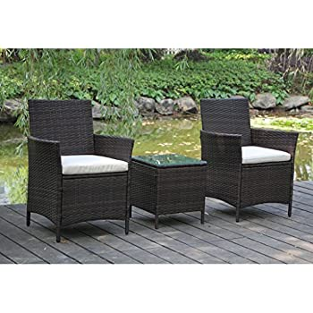 VIVA HOME Patio Rattan Outdoor Garden Furniture Set of 3PCS Wicker Chairs With Table  sc 1 st  Amazon.com & Amazon.com : VIVA HOME Patio Rattan Outdoor Garden Furniture Set of ...