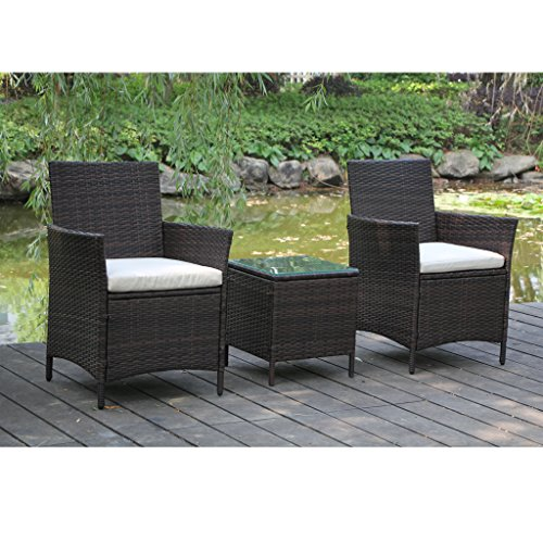 Viva Home Patio Rattan Outdoor Garden Furniture Set Of 3pcs Wicker Chairs With Table Buy