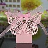 Lot de 20pcs Boîte à Dragées Bonbonnière Motif de Papillon Ajouré pour Mariage - Rose