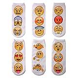 WENER Women Girls 3D Funny Cute Crazy Cartoon Animals Short Ankle Socks (6 Pairs Emoji)