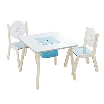 Labebe Meubles Bois, Table Enfants ou Bureau Fille - Oiseau blanc ...