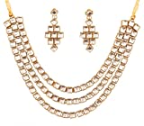 """Touchstone """"Contemporary Kundan Collection Indian Bollywood tthree Layer Square Kundan Look Jewelry Necklace Set in Antique Gold Tone for Women"""