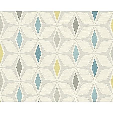 AS Creation Geometric Diamond Pattern Wallpaper Retro 60s Motif Textured Blue Green White 304761