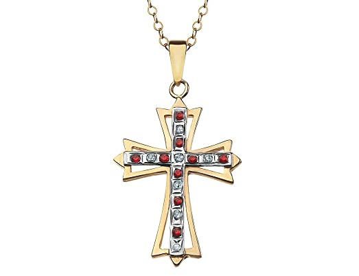 Amazon red ruby cross pendant necklace in sterling silver and red ruby cross pendant necklace in sterling silver and 14k yellow gold plating aloadofball Choice Image