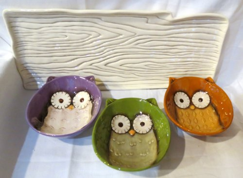 Grasslands Road Crimson Hallow Serving Tray with 3 Owl Bowls # 469445