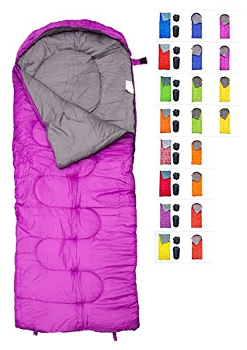 REVALCAMP Sleeping Bag for Cold Weather - 4 Season Envelope Shape Bags Great for Kids, Teens & Adults. Warm and Lightweight - Perfect for Hiking, Backpacking & Camping. Color: Violet - Left Zip
