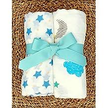 """[Patrocinado] Manta de muselina unisex de bambú orgánico para bebé – Juego de 2 """"Dreamland & Stary Sky"""" impresión, suave Swaddling Recepción Sleep mantas, para bebés pequeños, regalo neutro de género"""
