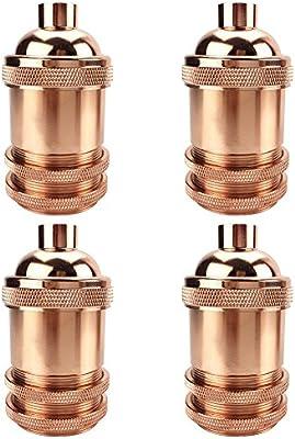 Generic 4 unidades Color dorado rosca enchufe funda con tapa, embellecedor para aplique de lámpara E26/E27