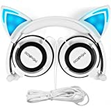 Cat Ear Headphones,MindKoo Kids Headphones Flashing Glowing Cosplay Fancy Foldable Over-Ear Gaming Headsets with LED Light for Girls,Children,Compatible for iPhone 6S,Android Phone (White)