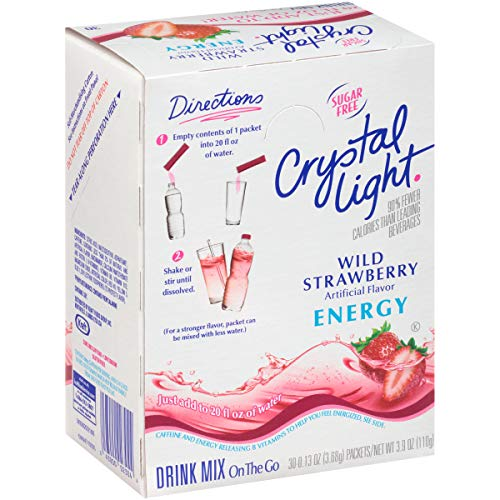 37 Light Crystal - Crystal Light Wild Strawberry Energy Drink Mix (120 On the Go Packets, 4 Canisters of 30)