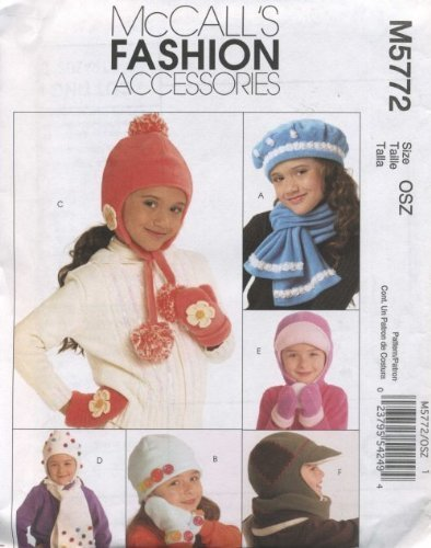 Sewing Fleece Mittens - McCall's Patterns M5772 Children's/Boys'/Girls' Hats, Scarves and Mittens, All Sizes