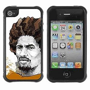 A-type Arte & diseño Anti-Slip Shockproof TPU Fundas Cover Cubre Case para Apple iPhone 4 / 4S ( Cool Rasta Illustration )