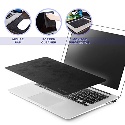 Insten 3-in-1 Multi-Functional Microfiber Mouse Pad for Notebook Netbook up to 12.5 inches, Non-Slip Mouse Mat/ Monitor Protection & Cleaning All in One, Black
