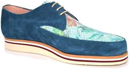 Zapatos Blucher Mujer | Modelo Mérida | Zapatos Piel Mujer | Zapatos Artesanos | Zapatos Blucher | Zapatos Elegantes | Color Ante Azul Marino-Floral | Envío 48 Horas | Variedad de Tallas