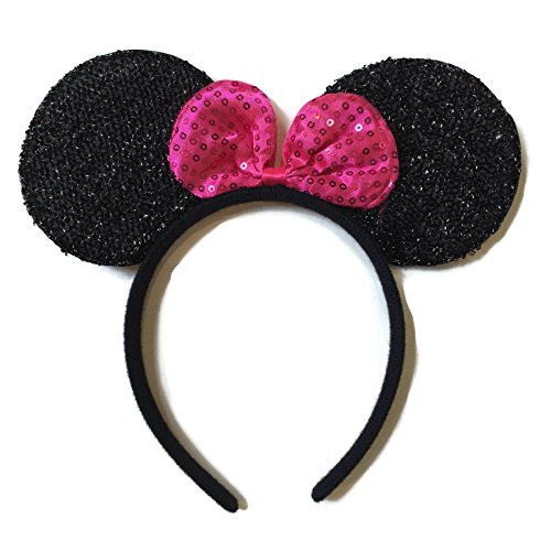 Pink Minnie Ears (Rush Dance Red Minnie Mouse Ears Birthday Party Favor Bow Accessories Headband (Hot Pink Sequins))