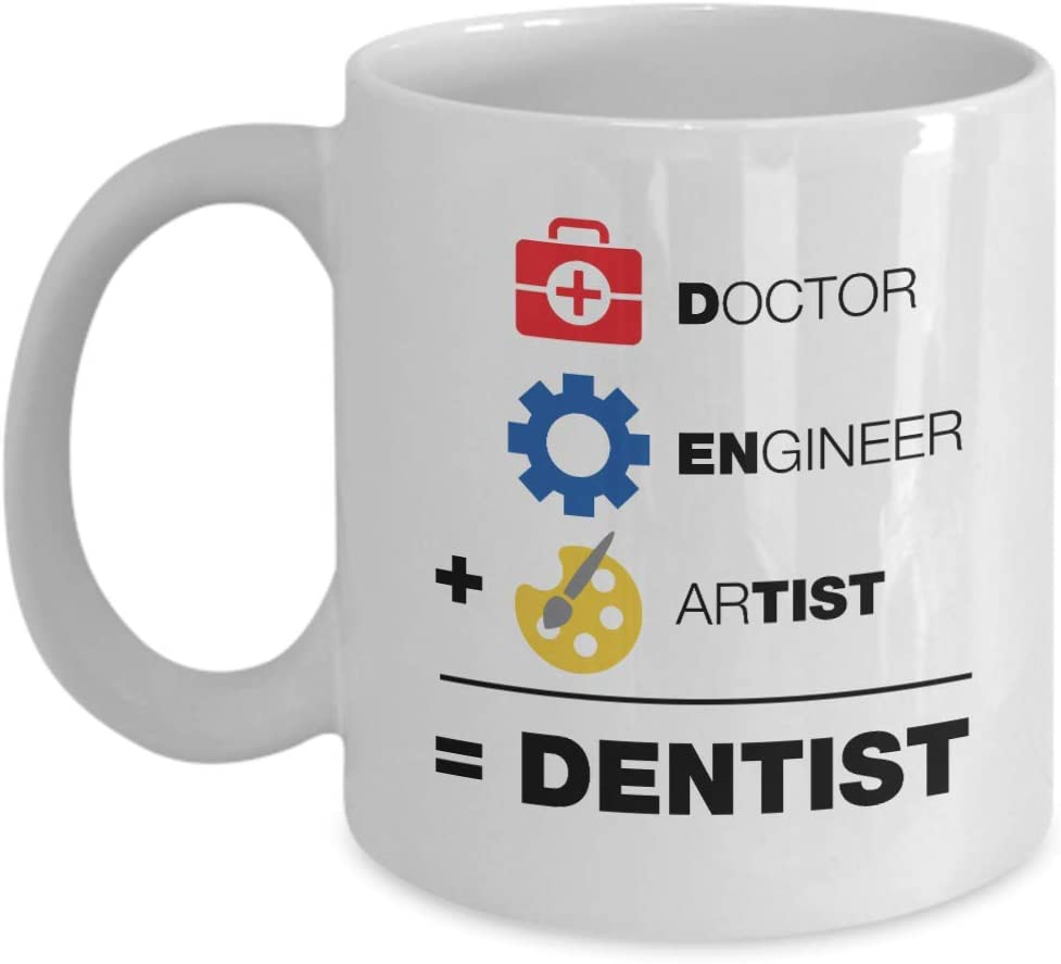 A Doctor, An Engineer & An Artist Is Equal To A Dentist Funny Coffee & Tea Mug, Decor, Office Decoration, Stuff & Christmas Or Graduation Giftables For Men & Women Dentists (11oz)