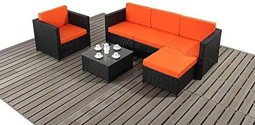 Muebles de jardín de mimbre, 6 piezas Conjunto de sofás en negro ...