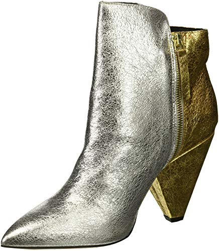 Kenneth Cole New York Women's Galway Side Zip Heeled Bootie Ankle Boot, Gold/Silver, 8.5 M - Multi Gold Heels