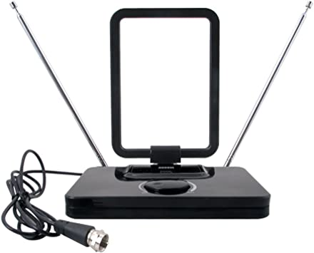 August DTA305 Antena TV TDT con Amplificador de Señal - Antena Portátil con señal amplificada - Televisión DVB-T / Radio DAB - Varillas Extensibles