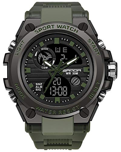 (Men's Military Watch Outdoor Sports Electronic Watch Tactical Army Wristwatch LED Stopwatch Waterproof Digital Analog Watches)
