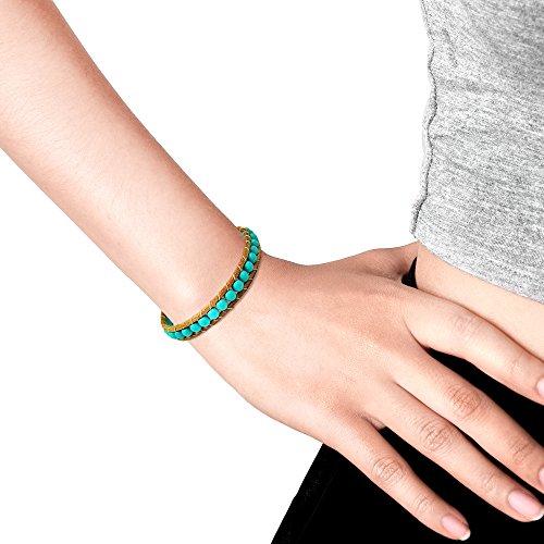 AeraVida Simulated Turquoise Nude Leather Bracelet by AeraVida (Image #3)