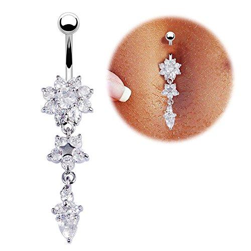 Newave 14G Belly Button Rings Belly Flower Dangle Women Body Piercing Jewelry