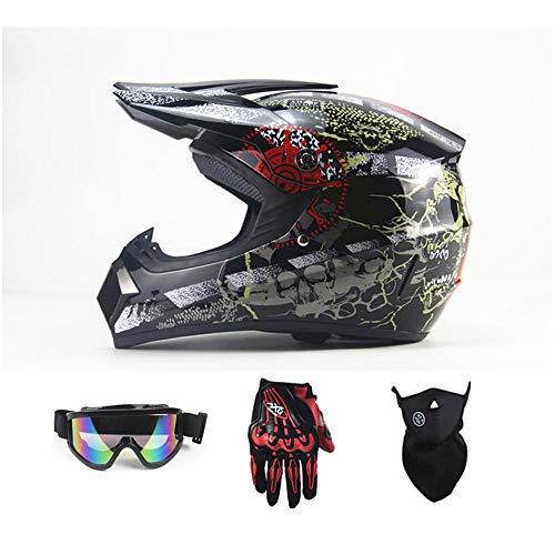 AA100 Motorcycle Helmet Full Cover Four Seasons Off-Road Motorcycle Helmet Road Off-Road Racing Downhill Pedal Helmet Men and Women Models,Black,S