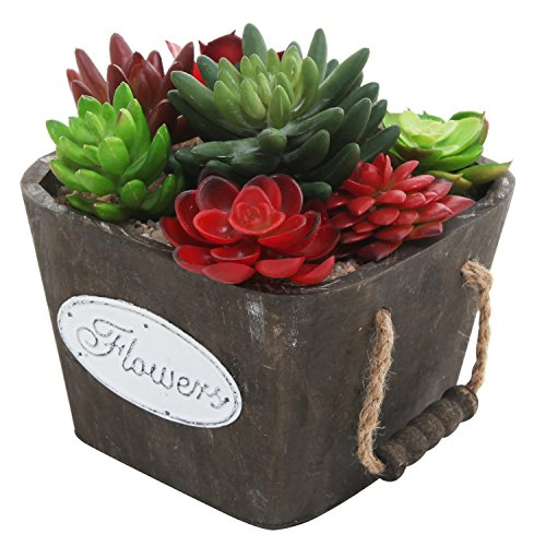 Country Rustic 6-Inch Square Wood FLOWERS Planter Pot with Rope Handles, Dark (Brown Square Pot)