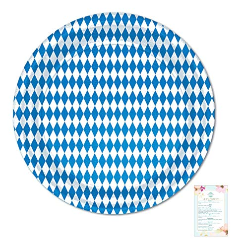 24 Blue and White Bavarian 9 inch Paper Plates for Oktoberfest (with Party Planning Checklist)