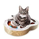 Nittis Heart-Shaped Scratcher Cat Toys with Bell Balls - Interactive cat Toy - Deluxe Cat Scratcher Lounge - Cardboard Cat Scratching Post