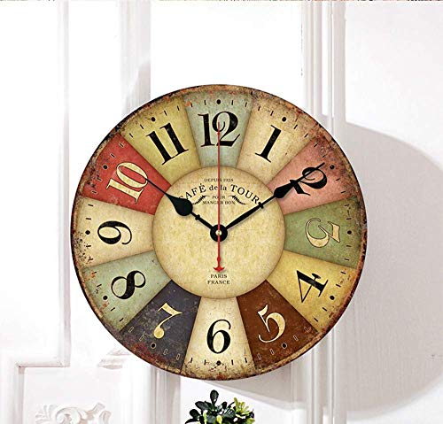 Retro Wooden Wall Clock Farmhouse Decor, Silent Non Ticking Wall Clocks Large Decorative - Quality Quartz Battery Operated - Antique Vintage Rustic Colorful Tuscan Country Style (12inch)