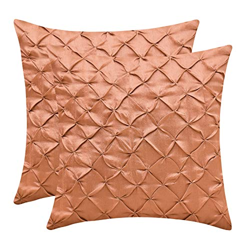The White Petals Rose Gold Euro Sham Covers (Faux Silk, Pinch Pleat, 26x26 inch, Pack of ()