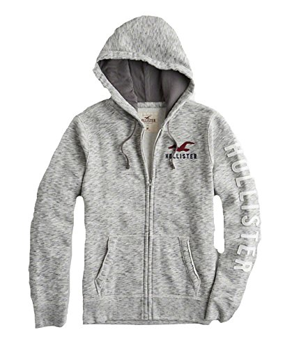 Hollister Mens Hoodie Sweatshirt Pullover  Gray Full Zip 2202  M