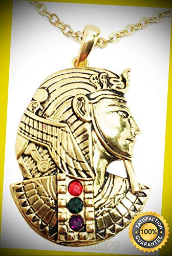 KARPP Egyptian Mask of King TUT Pharaoh Golden Necklace Pendant Jewelry Pewter Egypt Perfect Indoor Collectible Figurines ()