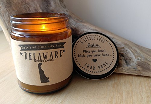 Delaware Scented Candle Missing Home Homesick Gift Moving Gift New Home Gift No Place Like Home State Candle Missing You Valentines Day Gift