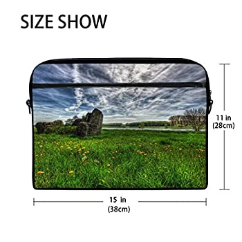 Field River Sky Landscape Laptop Shoulder Messenger Bag Case Sleeve For 14 Inch To 15.6 Inch With Adjustable Notebook Shoulder Strap