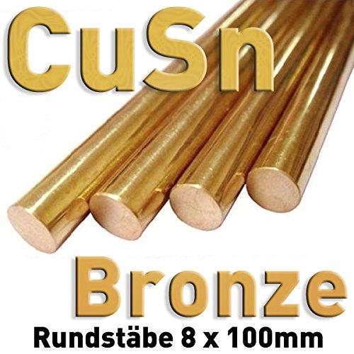Tige en bronze CuSn ⌀8 mm x 100 mm, tige ronde en métal, échantillon de matériau, barre