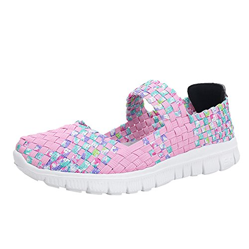 Haalife◕‿¿Women Casual Mesh Loafers Woven Stretch Lightweight Flats Shoe Casual Non Slip Walking Shoes Pink