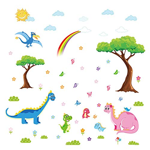 - ufengke Dinosaurs Family Wall Stickers for Kids Tree Removable Wall Art Decals for Nursery Bedroom