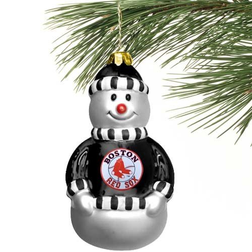 Boston Red Sox Blown Glass Snowman - Sox Red Snowman Boston