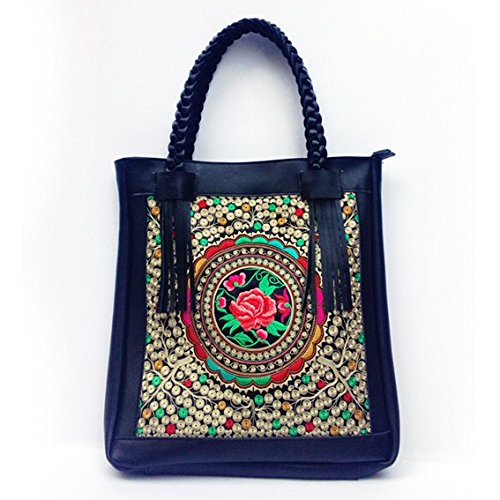 Negro de de de rojo Hecho Mano Piel Estilo Mano Flores para BISSER a Girl diseño étnico Mujer Bolso HUaqw11xF